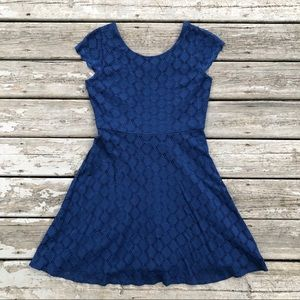 Blue Crochet Lace Fit & Flare Skater Dress Large